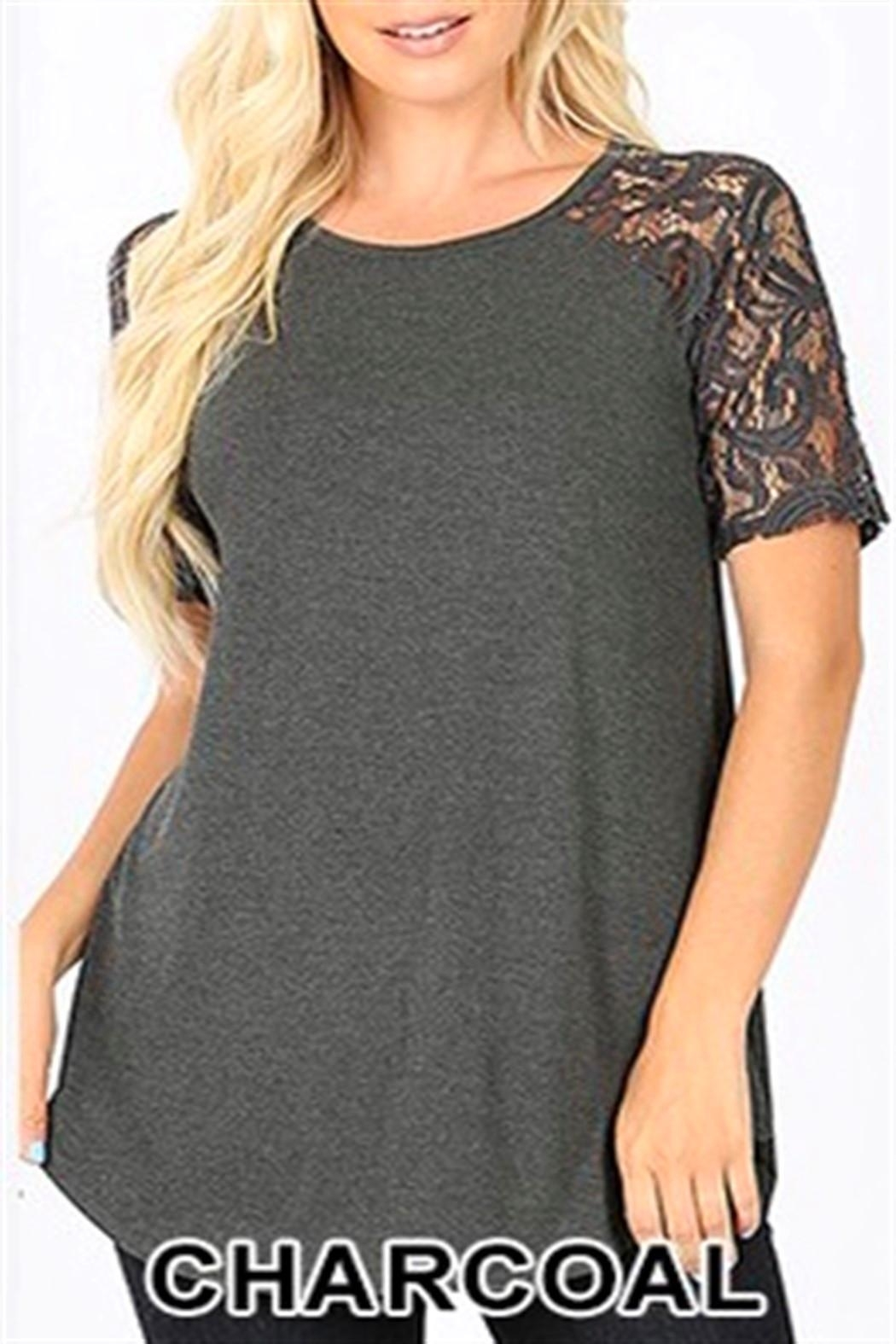 Zenana Lace Sleeve Top - Front Cropped Image