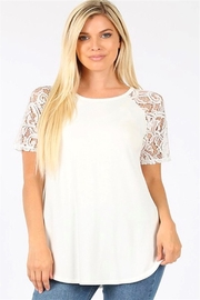 Zenana Lace Sleeve Top - Front cropped