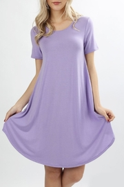 Zenana Lavender T-Shirt Dress - Product Mini Image