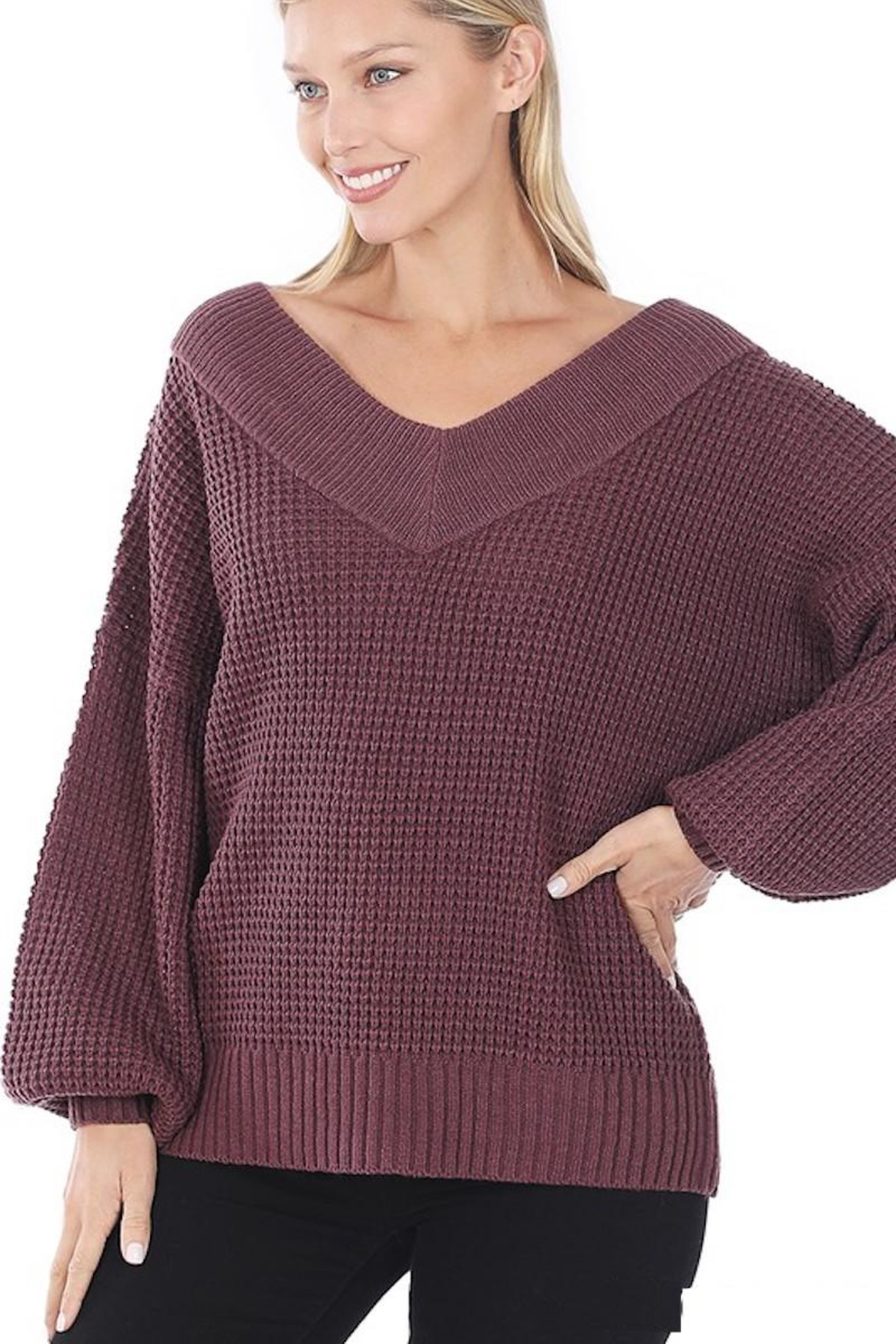 Zenana My Comfy Sweater In Solid - Front Full Image