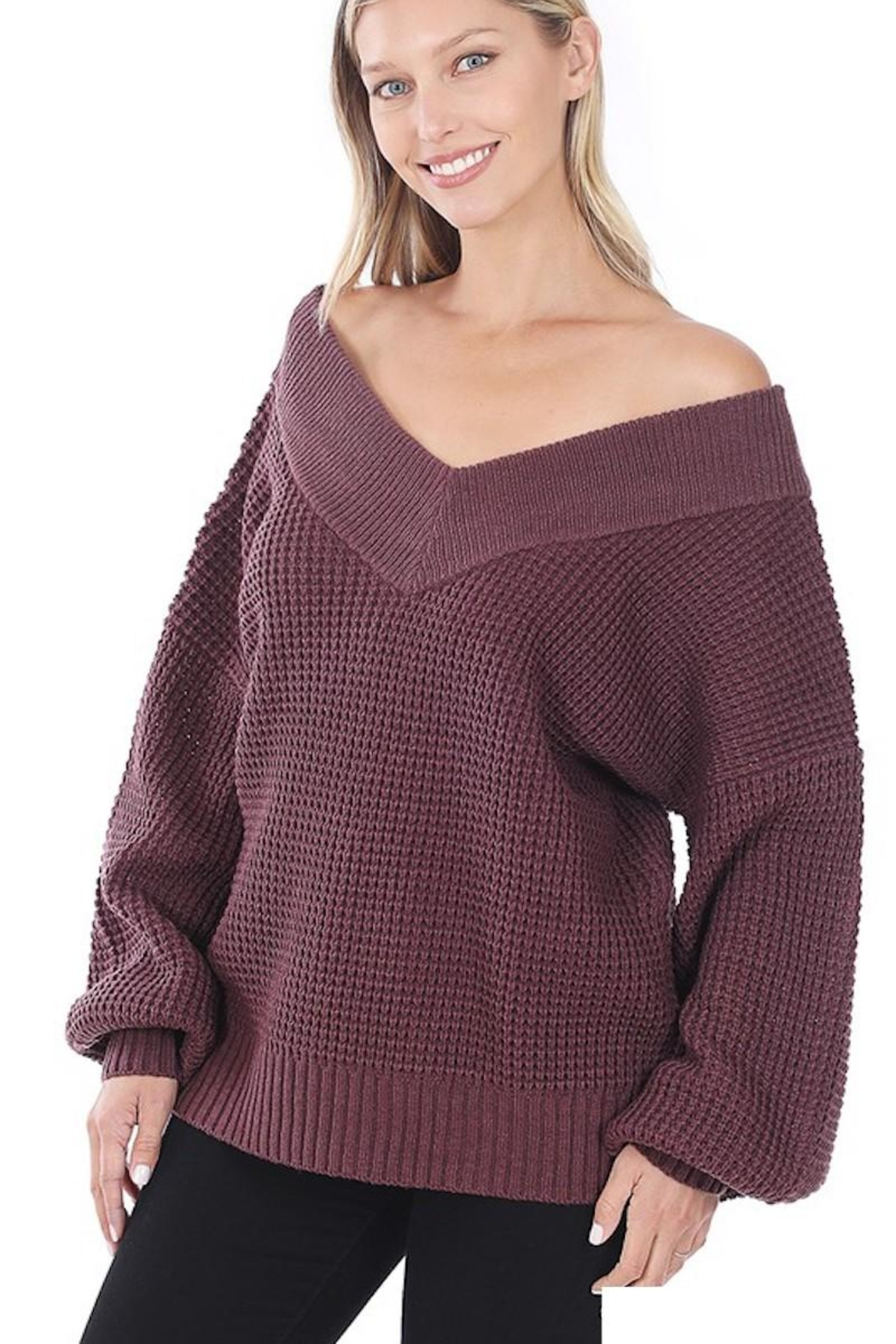 Zenana My Comfy Sweater In Solid - Front Cropped Image