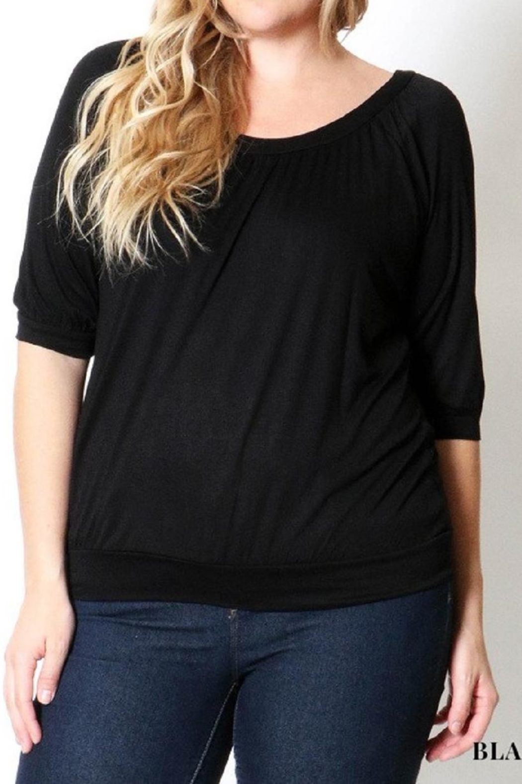 Zenana Plus-Size Black Top - Front Cropped Image