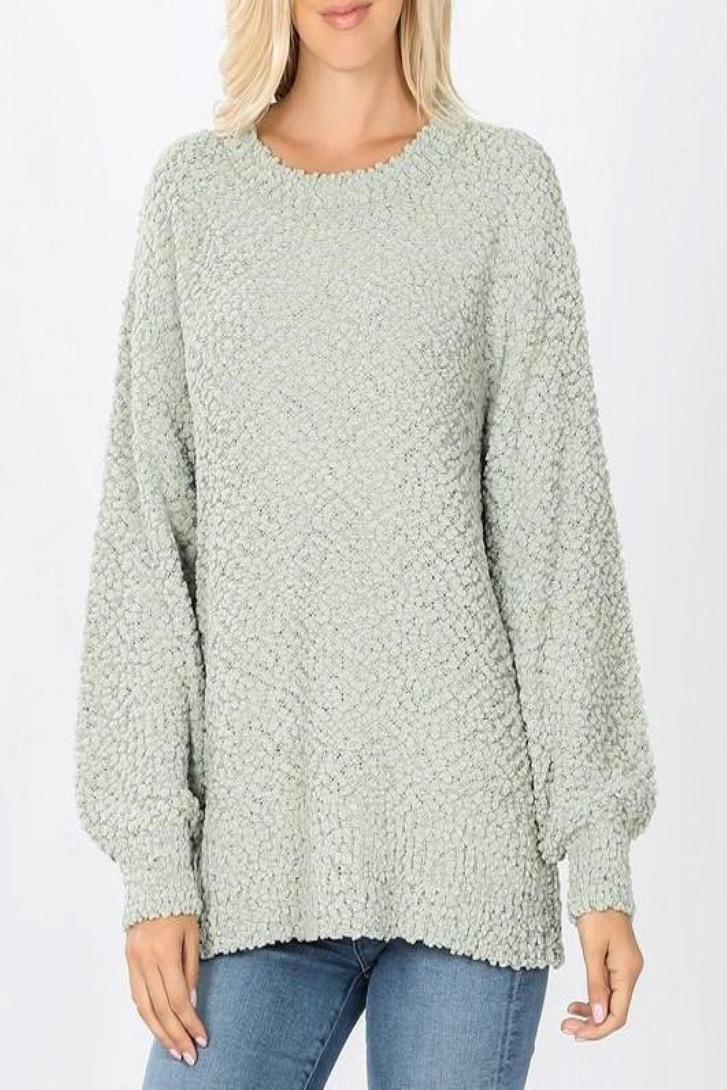 Zenana Popcorn Bubble Sweater - Front Cropped Image