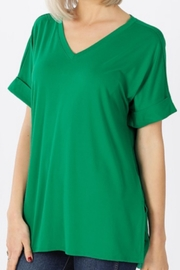 Zenana Rolled Sleeve V-Neck - Product Mini Image