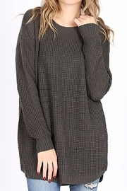 Zenana Round-Neck Waffle Sweater - Product Mini Image