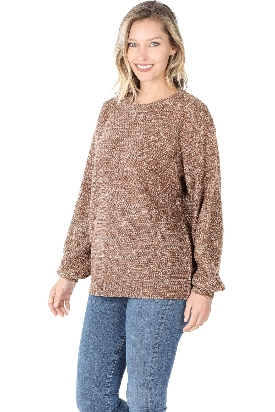 Zenana Stand Still Sweater - Front Cropped Image