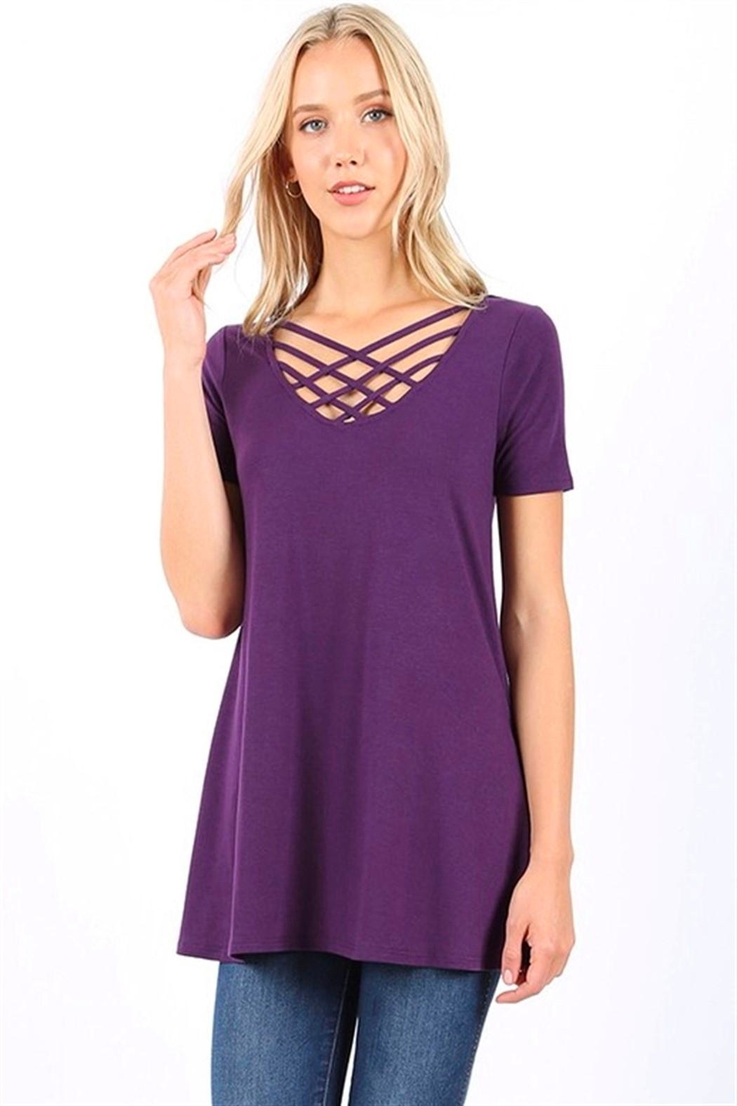 Zenana Triple Lattice Top - Front Cropped Image