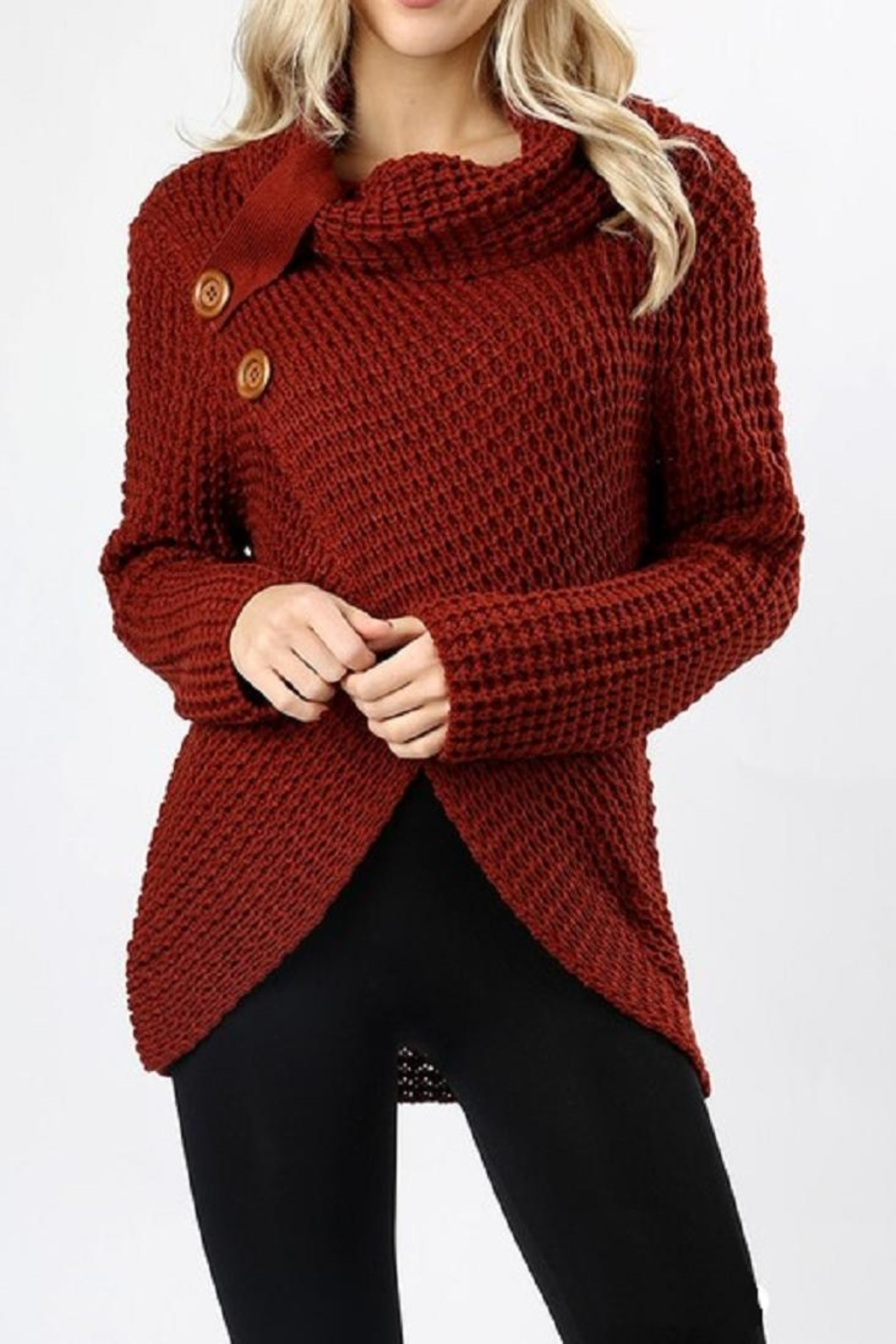 Zenana Outfitters Asymmetrical Wrap Sweater - Front Cropped Image