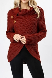 Zenana Outfitters Asymmetrical Wrap Sweater - Front cropped
