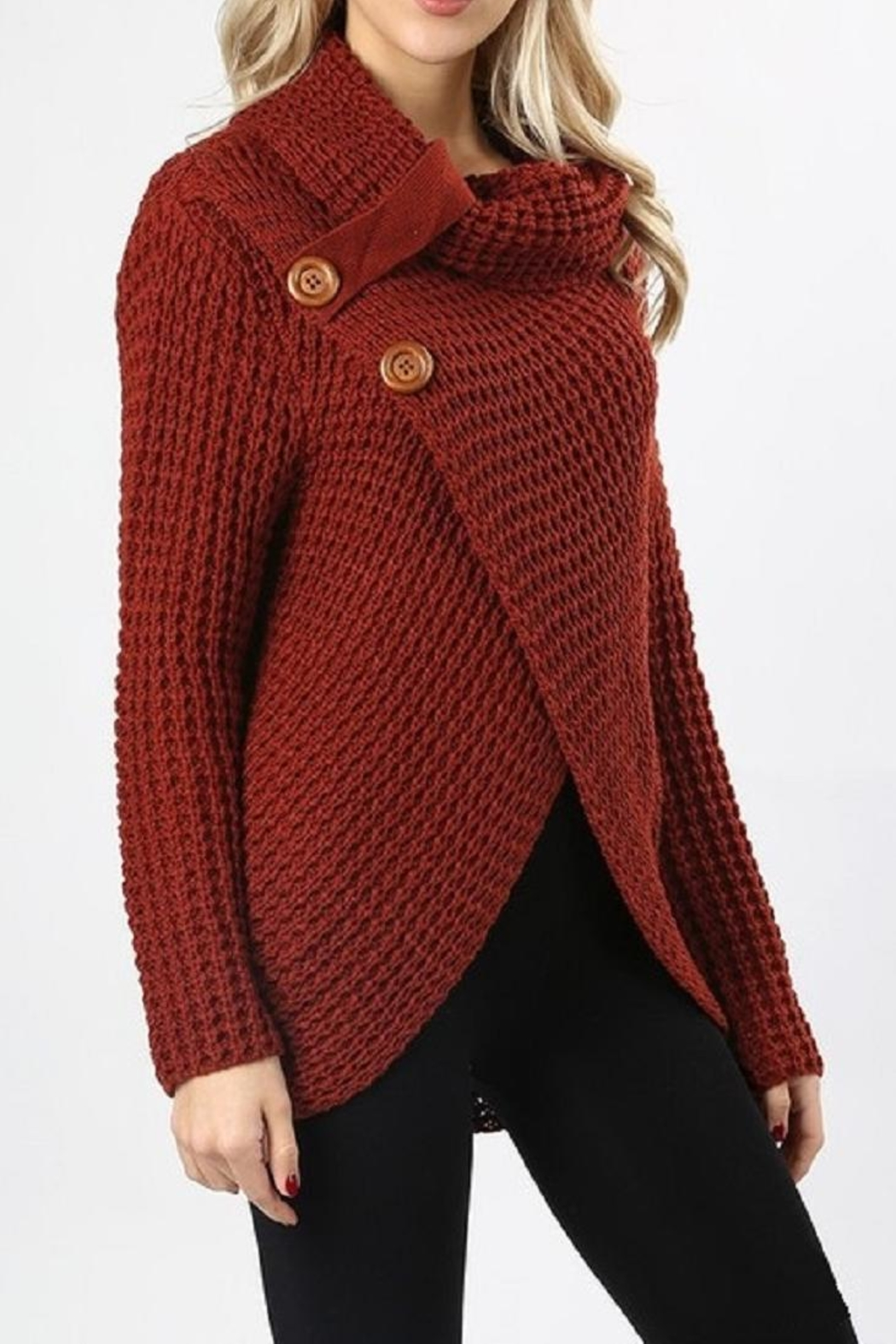 Zenana Outfitters Asymmetrical Wrap Sweater - Front Full Image