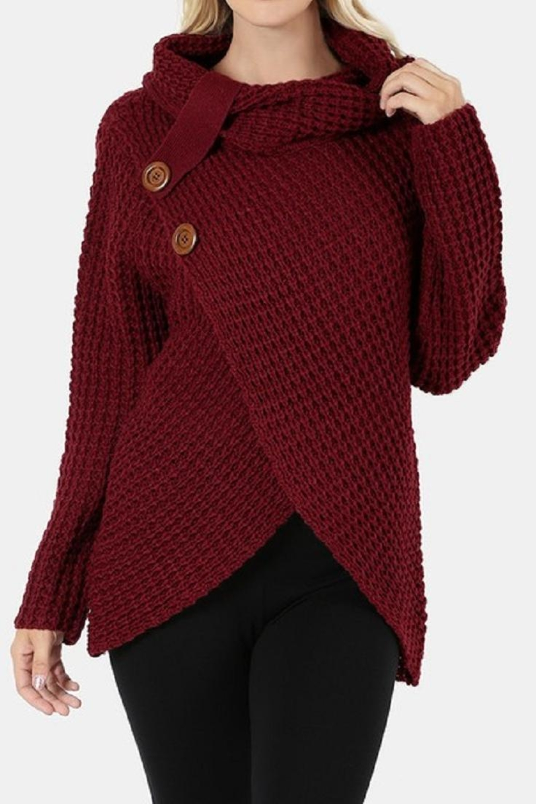 Zenana Outfitters Asymmetrical Wrap Sweater - Side Cropped Image