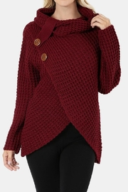 Zenana Outfitters Asymmetrical Wrap Sweater - Side cropped