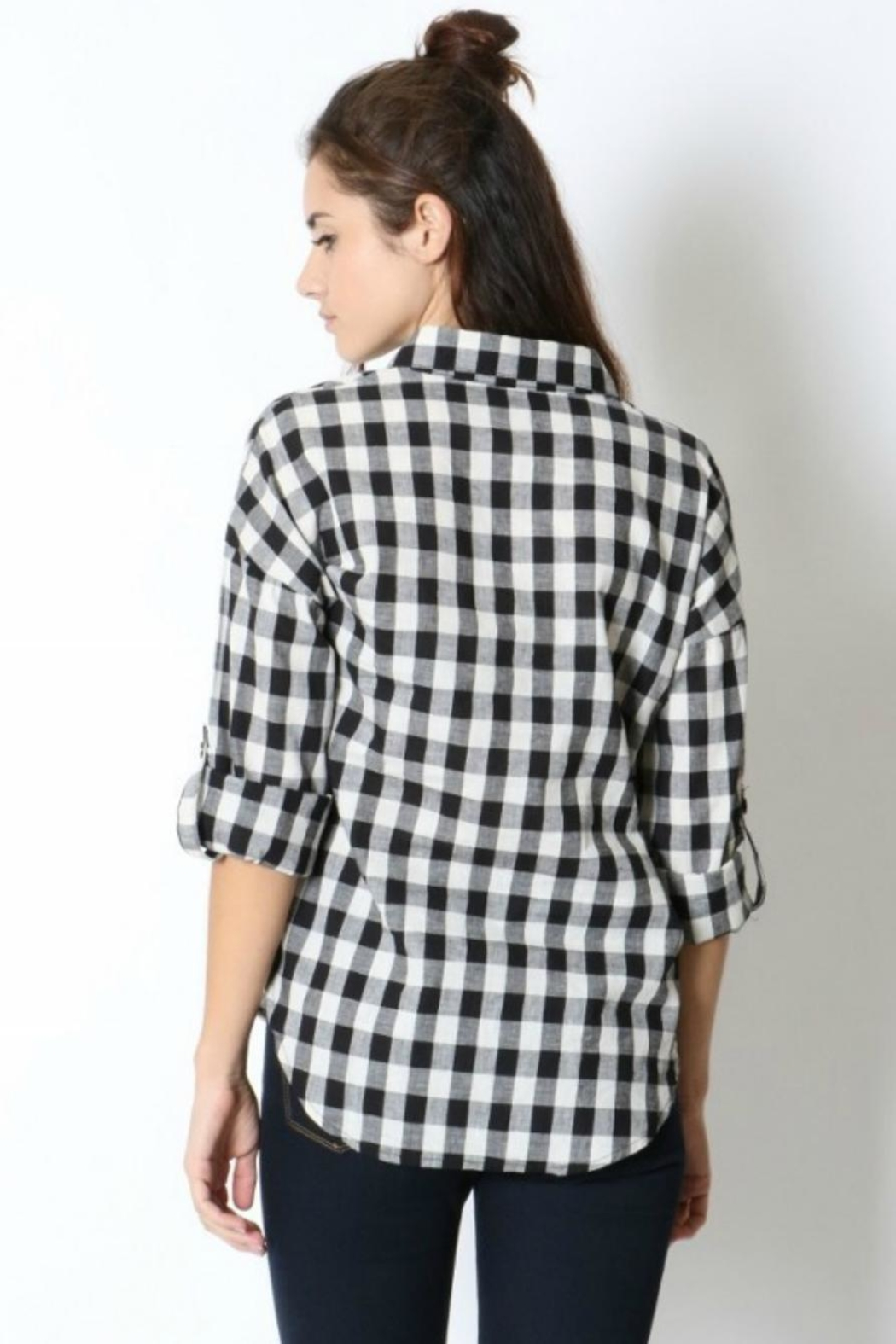 Zenana Outfitters Black & White Flannel - Front Full Image