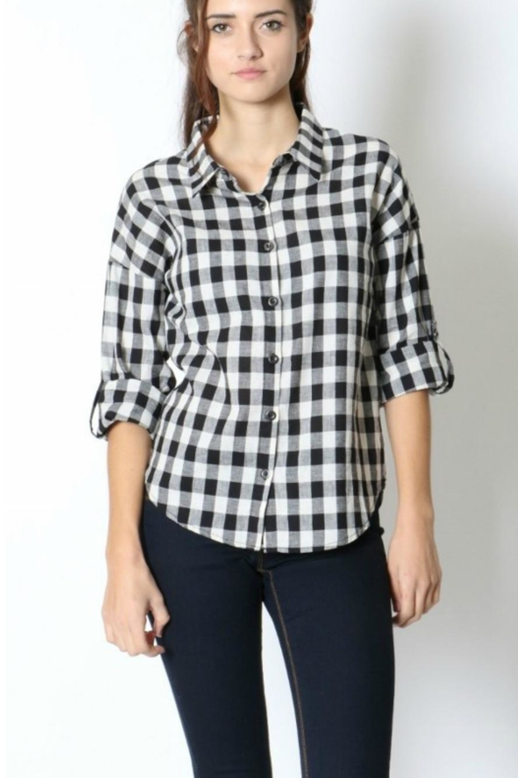 Zenana Outfitters Black & White Flannel - Main Image