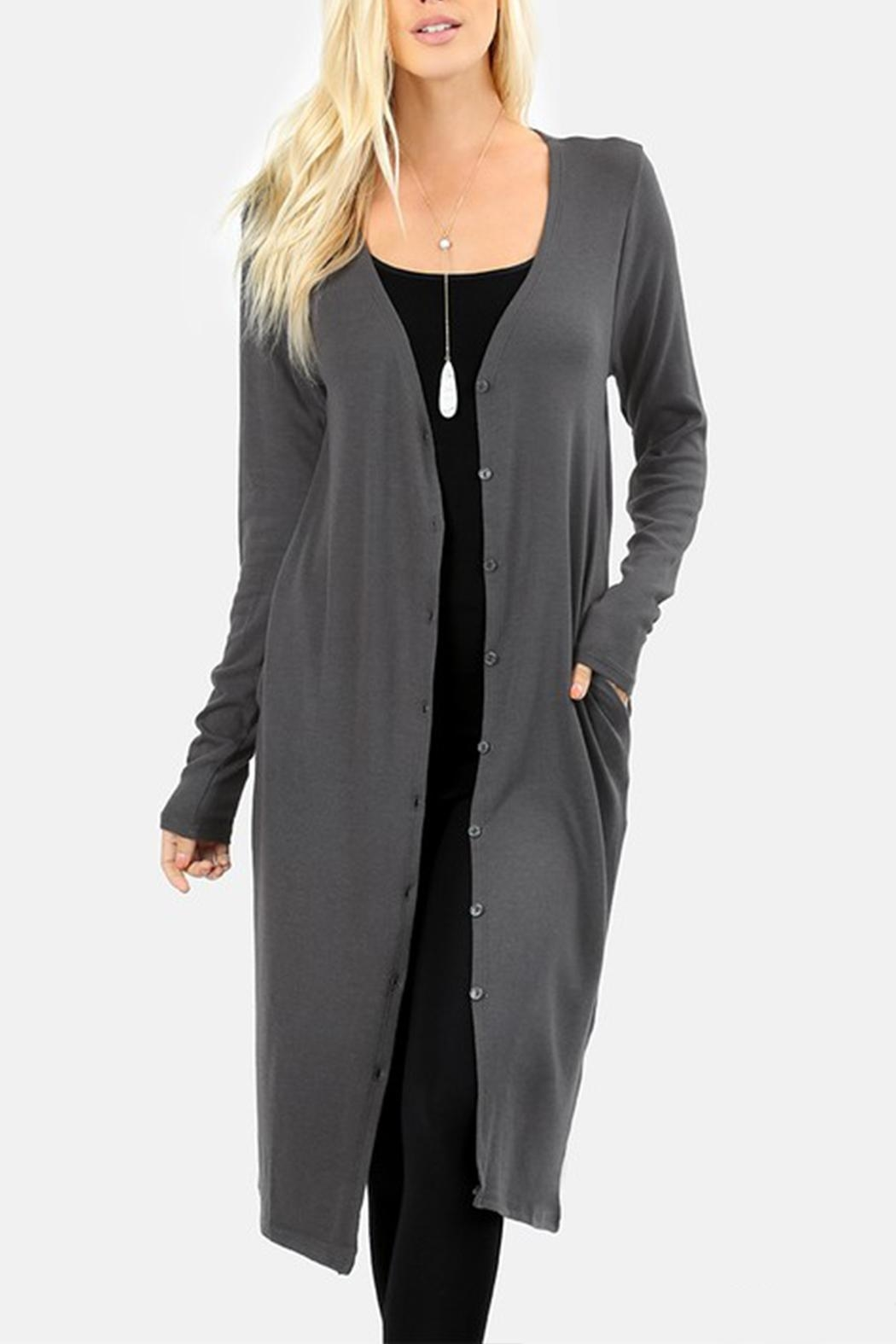 Zenana Outfitters Button-Front Long Cardigan - Main Image