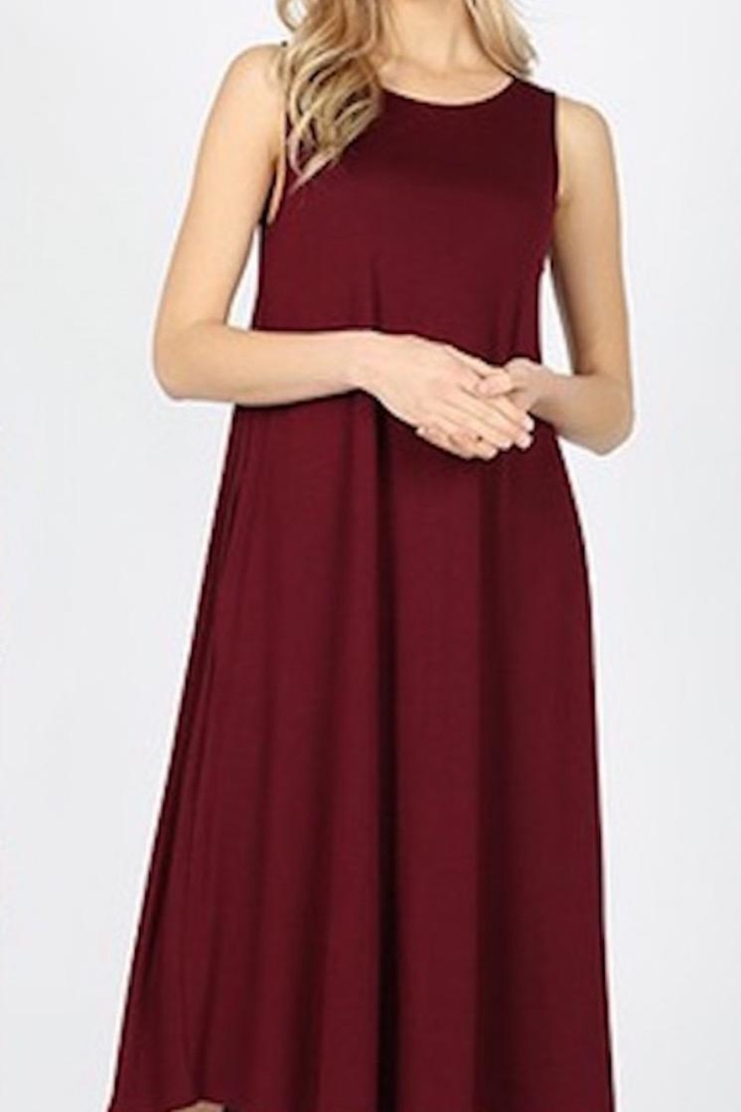Zenana Outfitters Comfy Anywhere Sleeveless Midi - Front Cropped Image