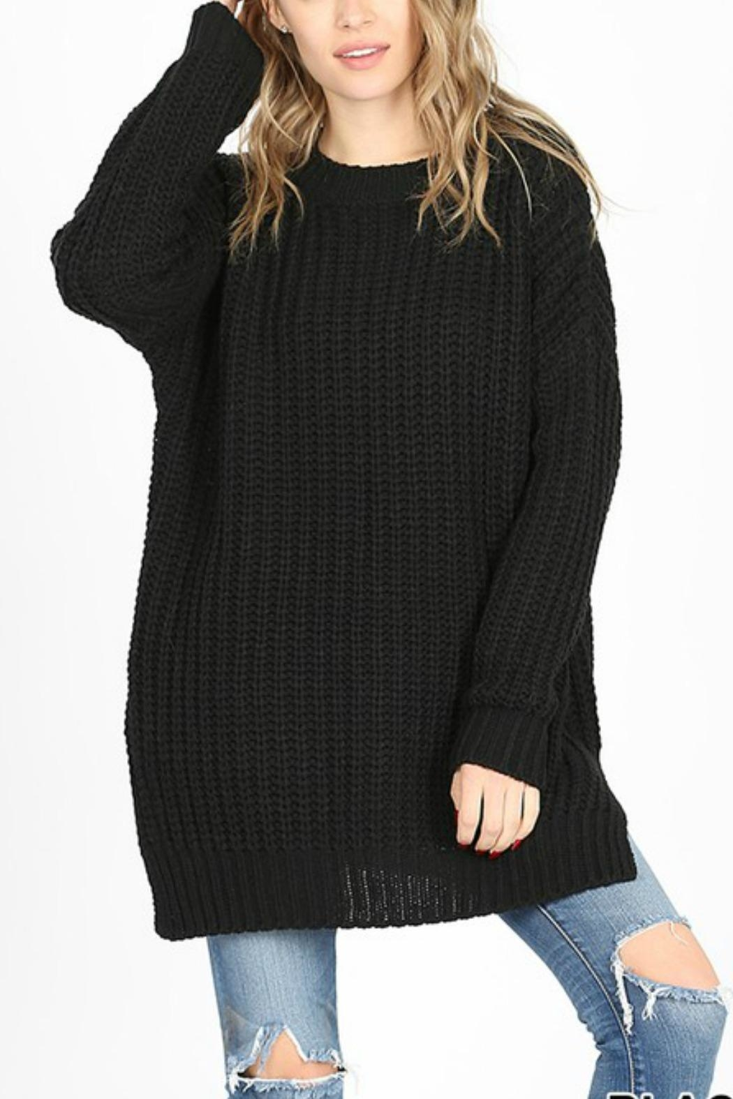 Zenana Outfitters Georgie Sweater Tunic - Front Cropped Image
