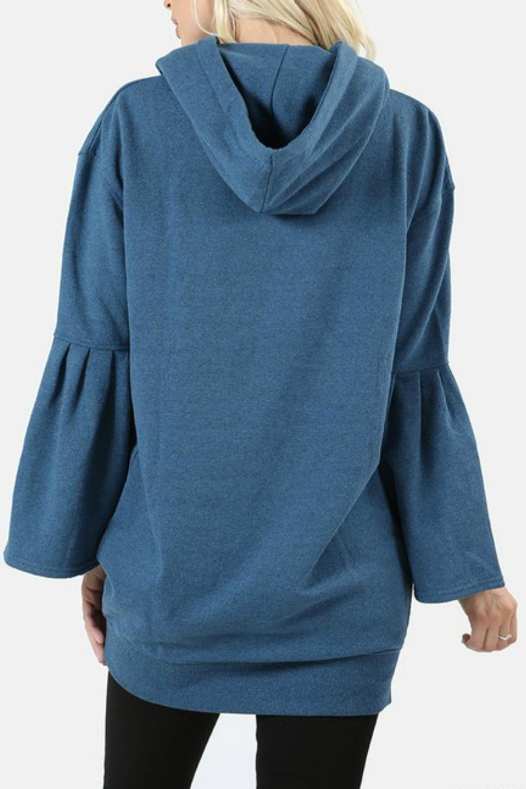 Zenana Outfitters Hooded Ruffle Sweater - Side Cropped Image