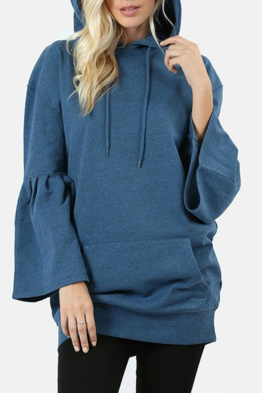Zenana Outfitters Hooded Ruffle Sweater - Front Full Image