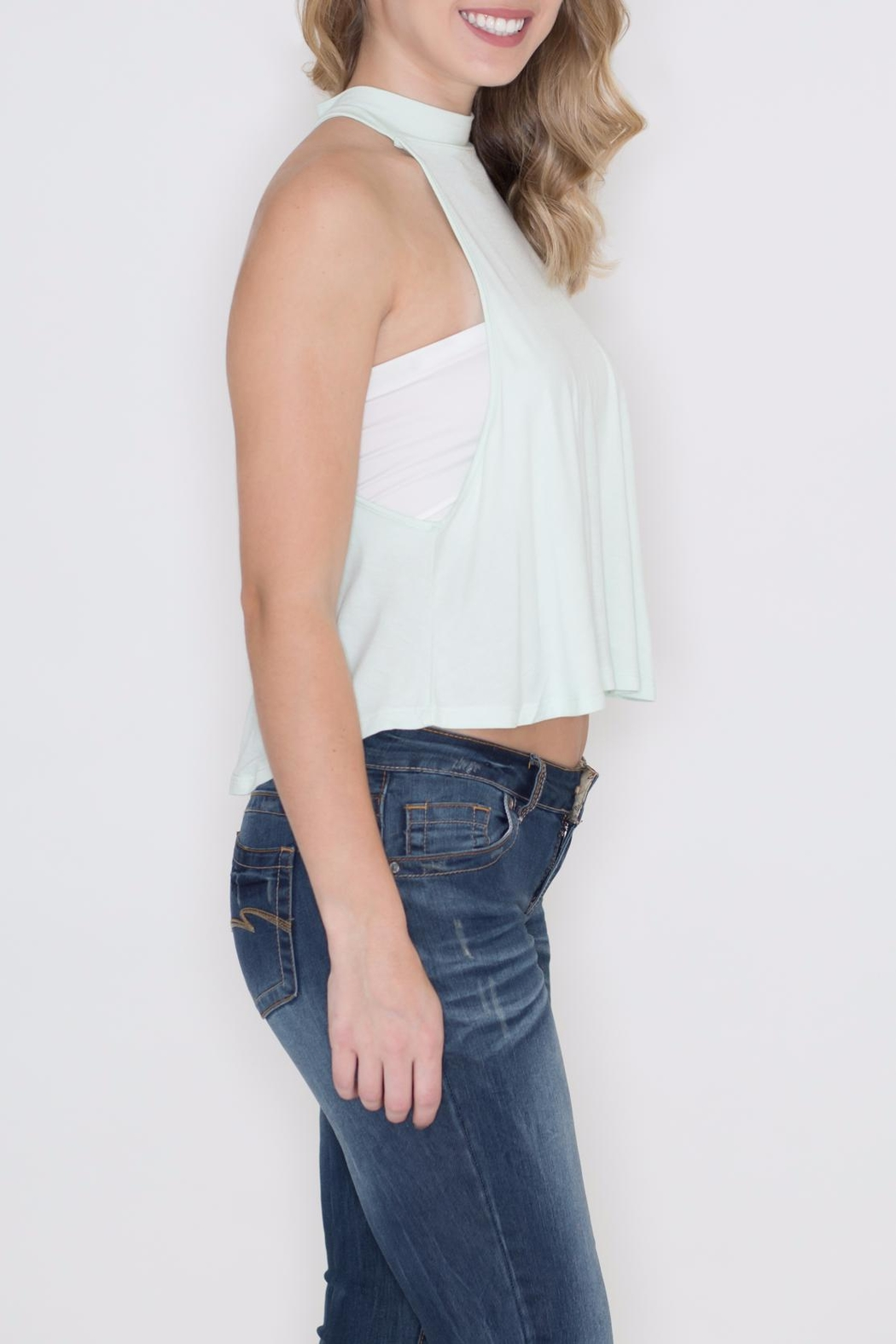 Zenana Outfitters Keyhole Crop Top - Front Full Image
