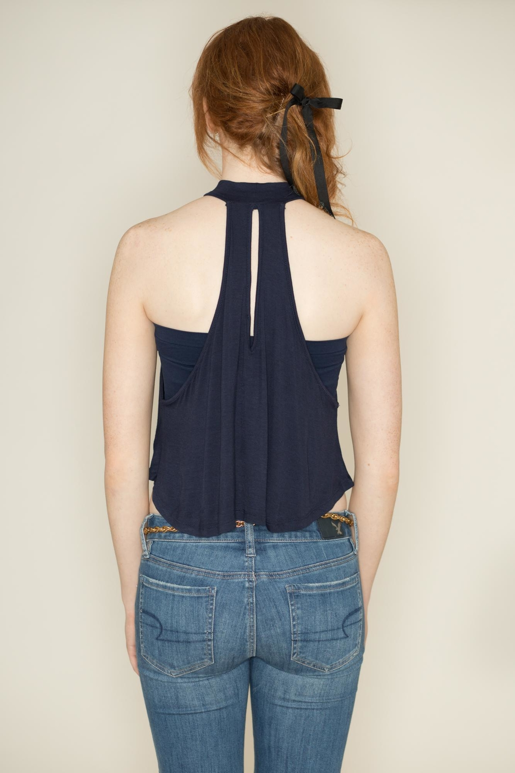 Zenana Outfitters Navy Sleeveless Crop Top - Back Cropped Image