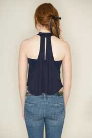 Zenana Outfitters Navy Sleeveless Crop Top - Back cropped