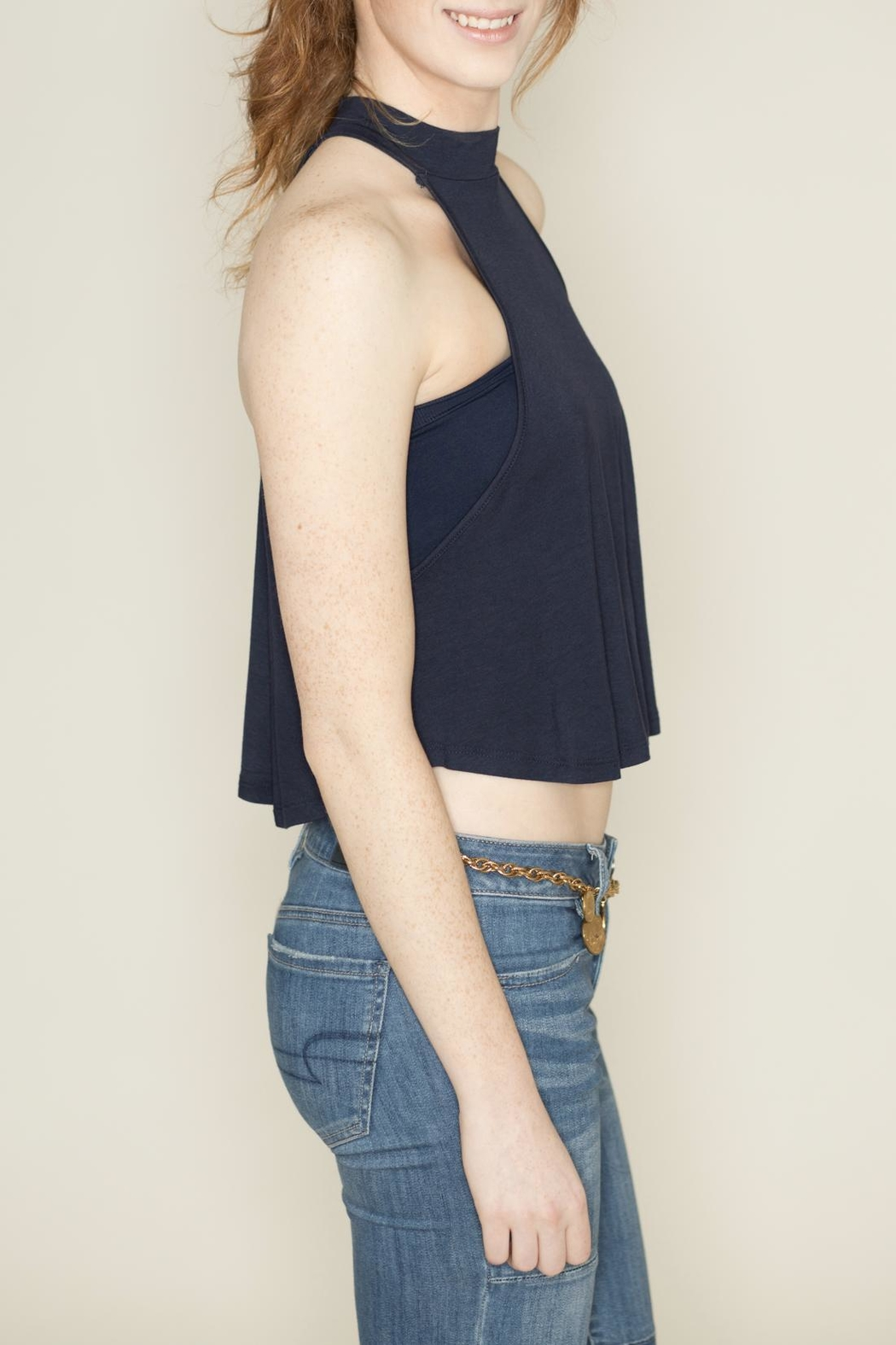 Zenana Outfitters Navy Sleeveless Crop Top - Side Cropped Image