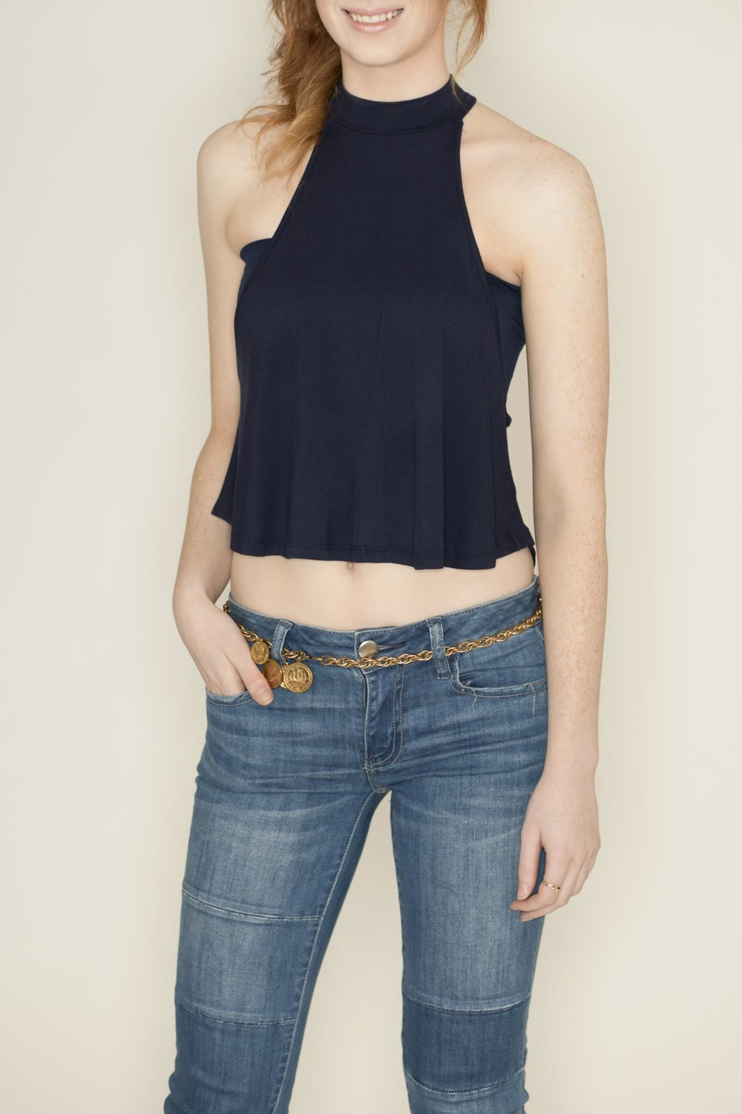 Zenana Outfitters Navy Sleeveless Crop Top - Main Image