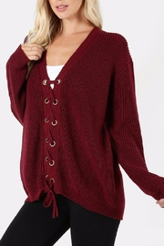 Zenana Outfitters Lace Front Sweater - Front full body