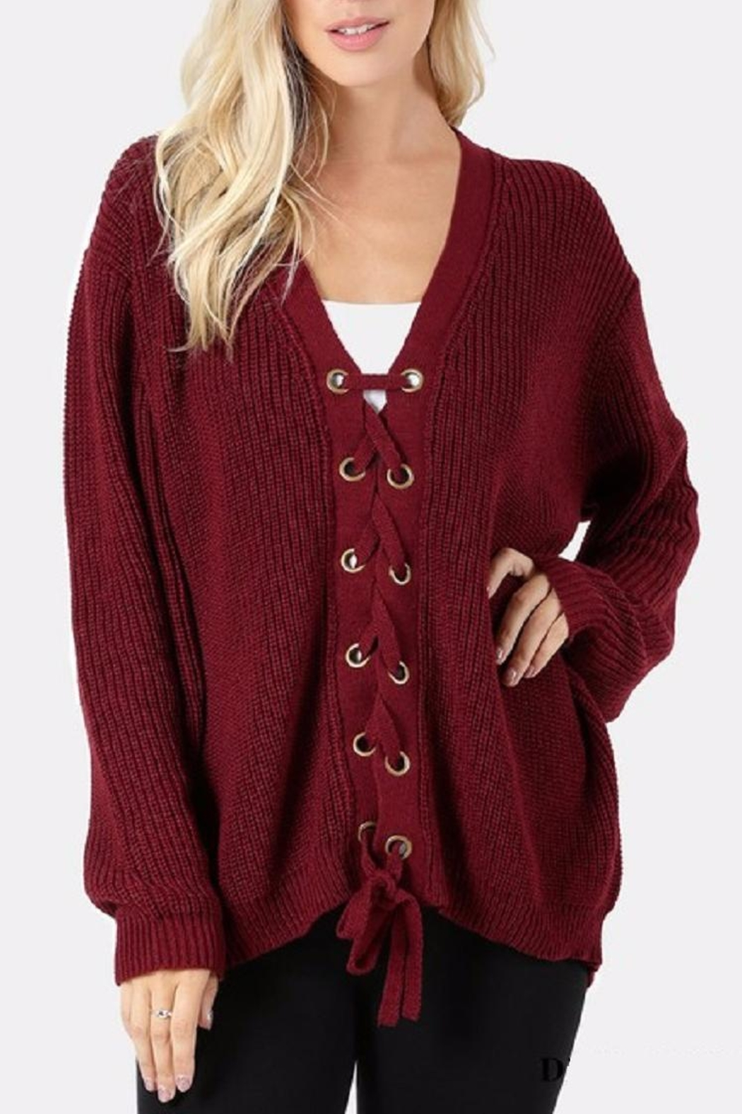 Zenana Outfitters Lace Front Sweater - Main Image