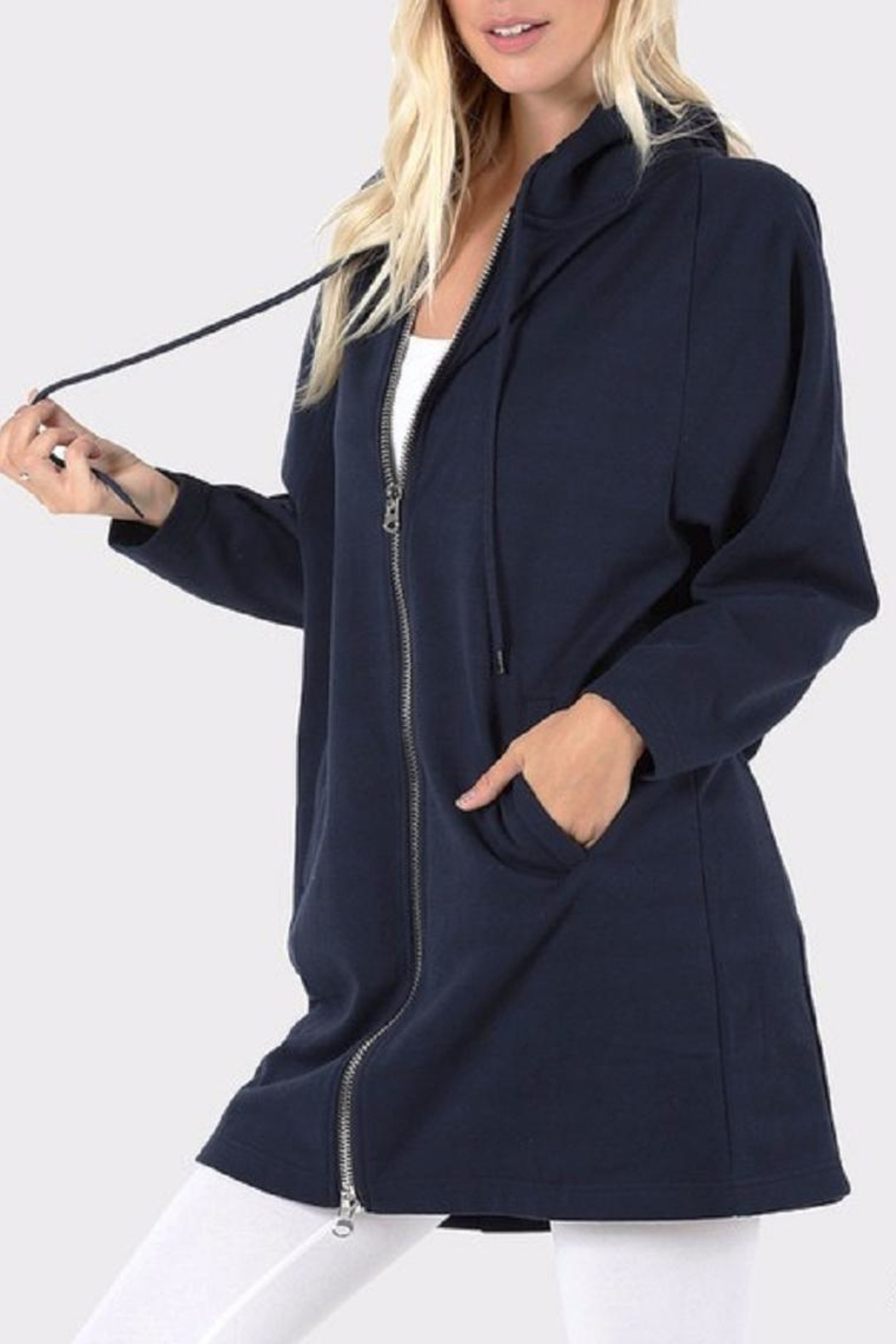 Zenana Outfitters Long Zip Hoodie - Side Cropped Image