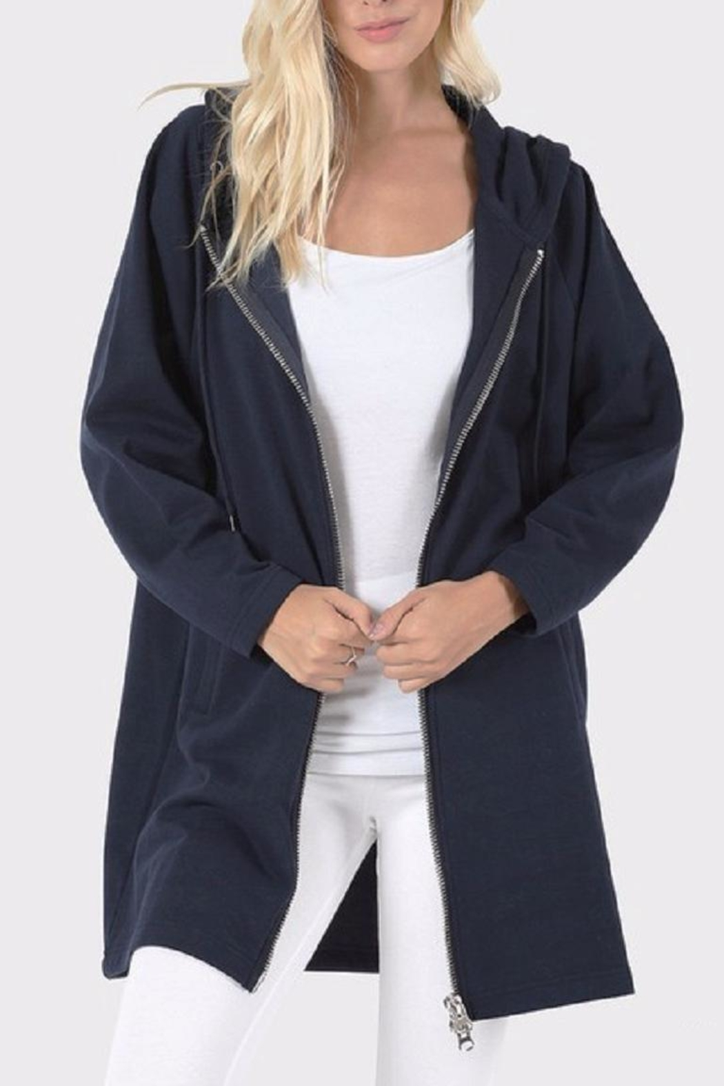 Zenana Outfitters Long Zip Hoodie - Front Full Image