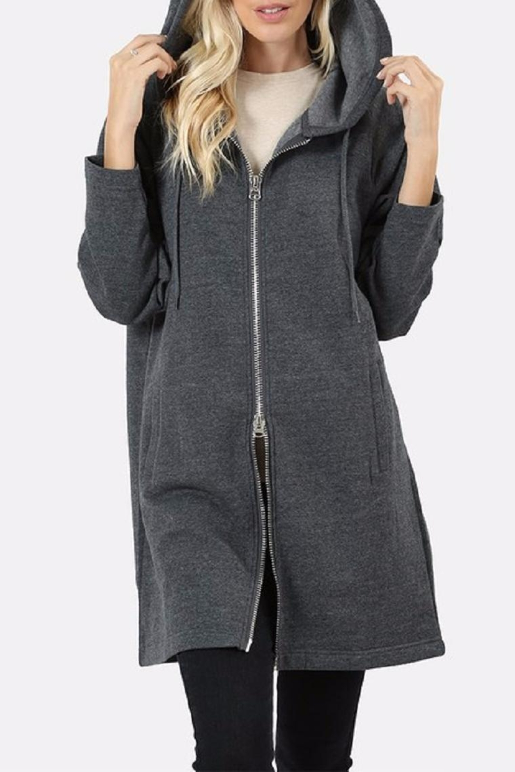 Zenana Outfitters Long Zip Hoodie - Front Cropped Image