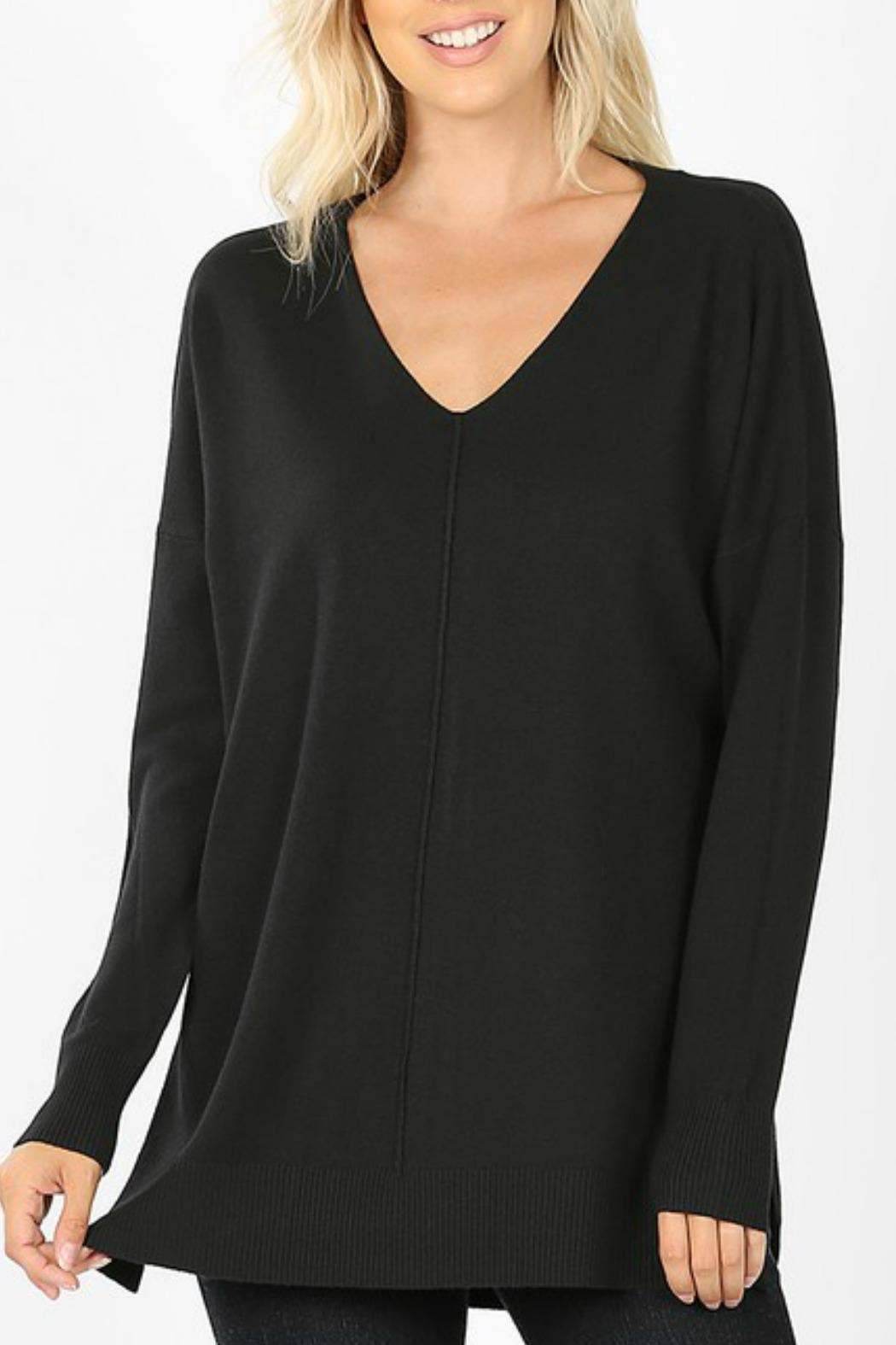 Zenana Outfitters Mellie V-Neck Sweater - Front Cropped Image