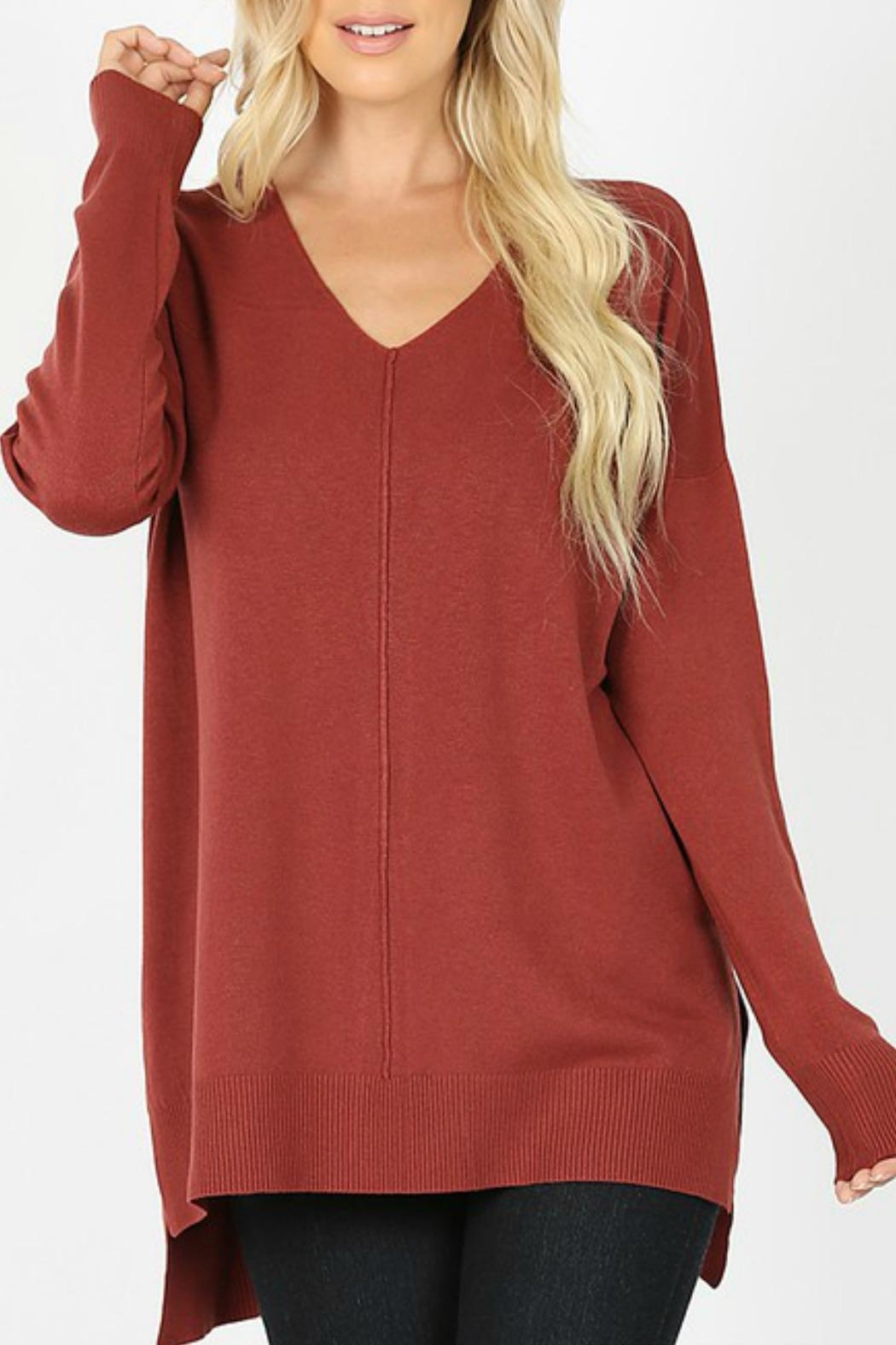 Zenana Outfitters Mellie V-Neck Sweater - Main Image