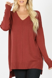 Zenana Outfitters Mellie V-Neck Sweater - Front cropped