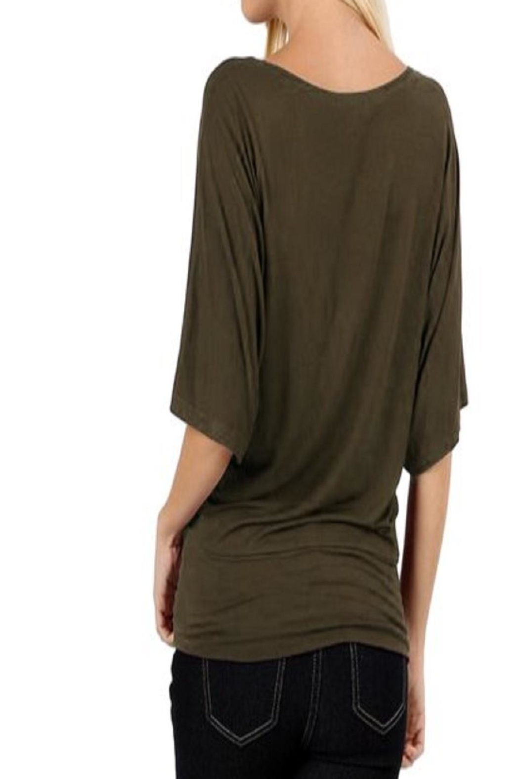 Zenana Outfitters Olive Dolman Kimono-Top - Front Full Image