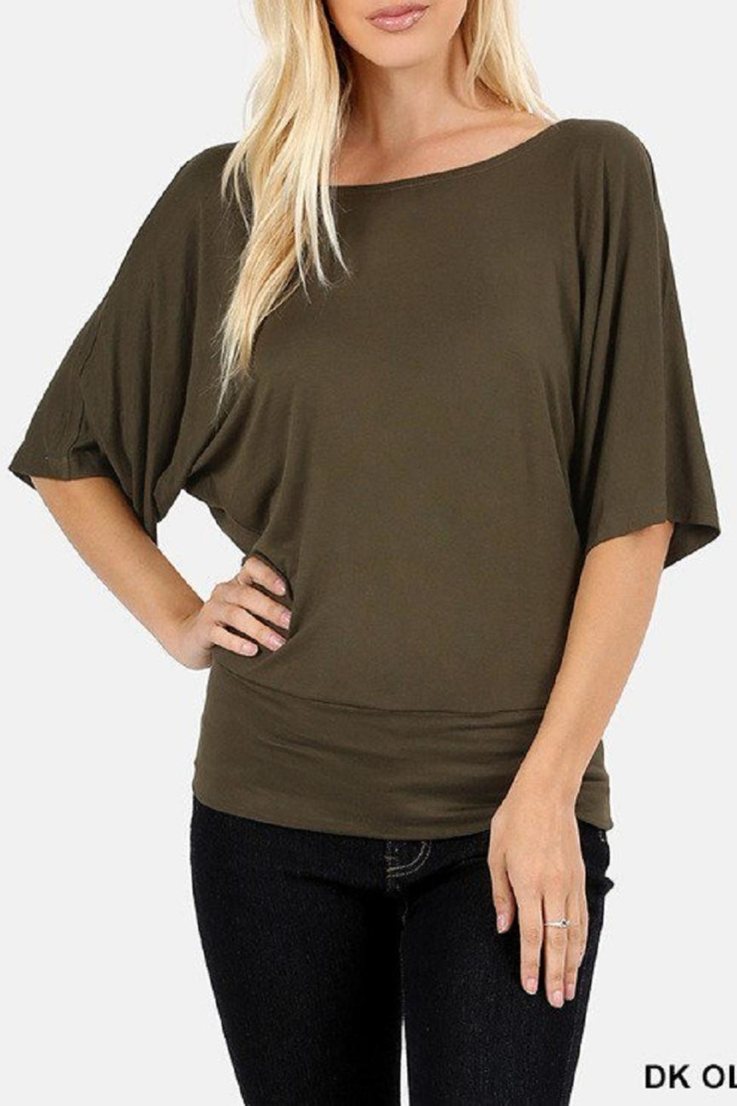 Zenana Outfitters Olive Dolman Kimono-Top - Front Cropped Image