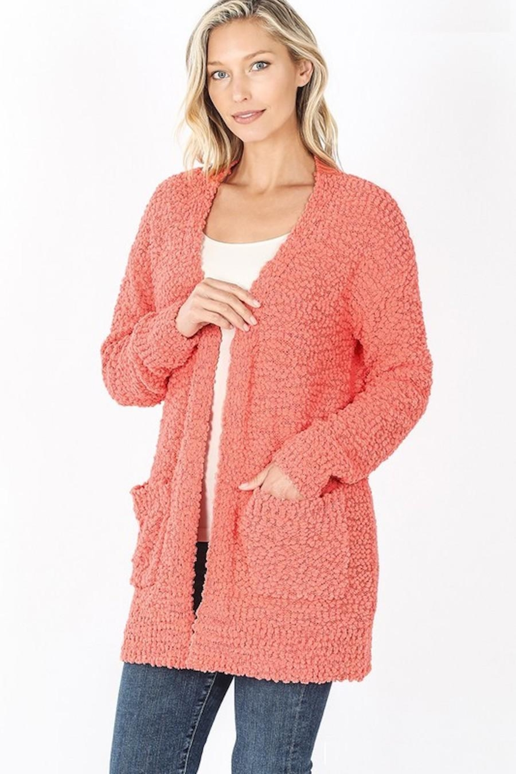 Zenana Outfitters Popcorn Pocket Cardigan - Front Cropped Image