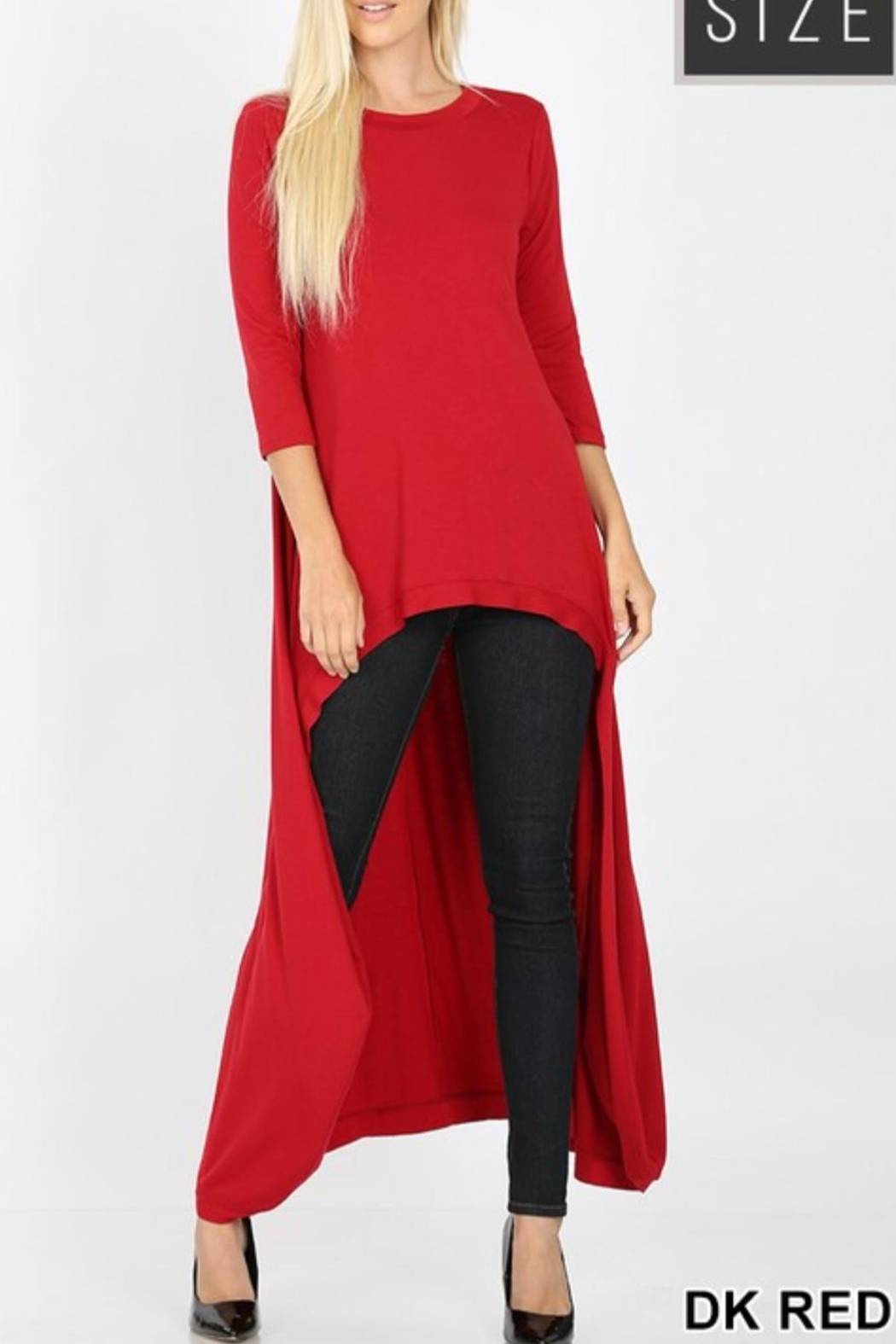 Zenana Outfitters Red Highlow Tunic - Main Image