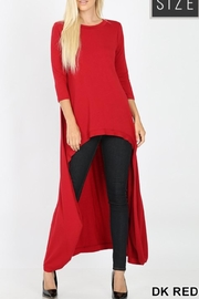 Zenana Outfitters Red Highlow Tunic - Front cropped