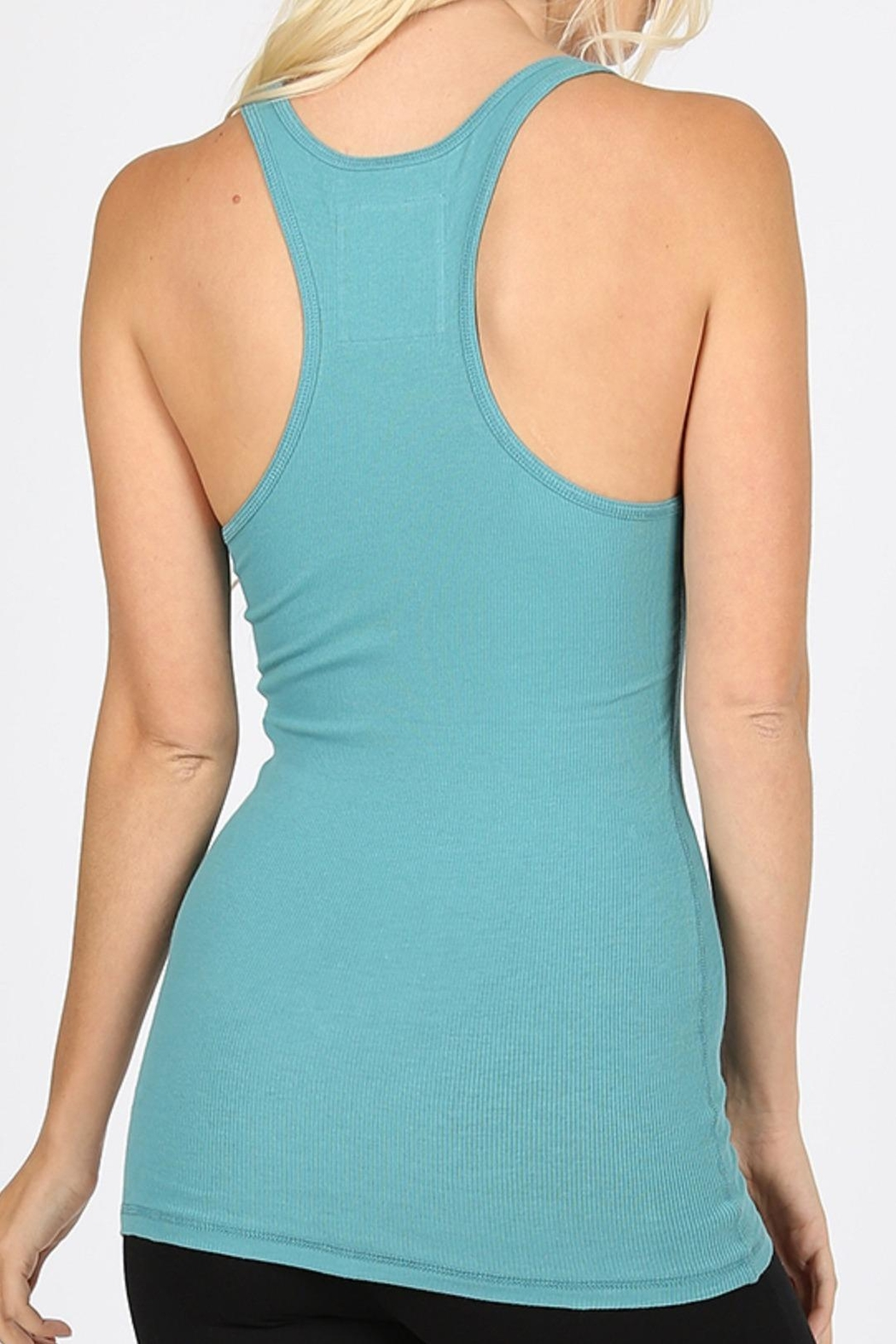 Zenana Outfitters Ribbed Racer-Back Tank - Front Full Image