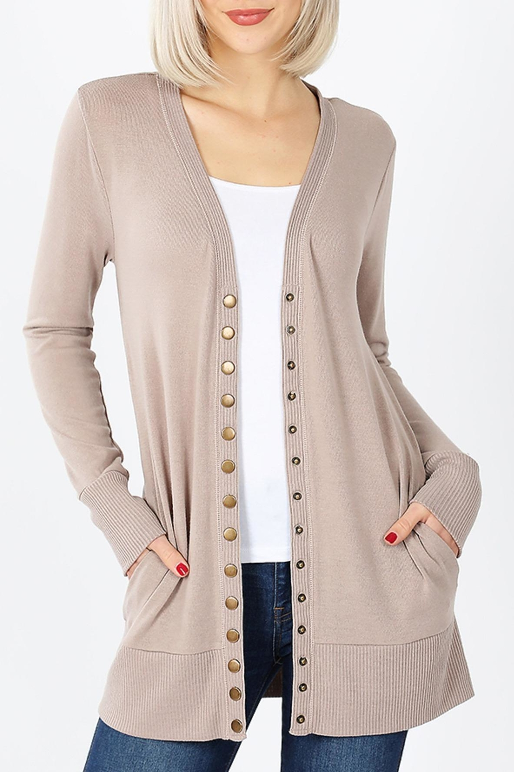 Zenana Outfitters Snap-Button Sweater Cardigan - Main Image