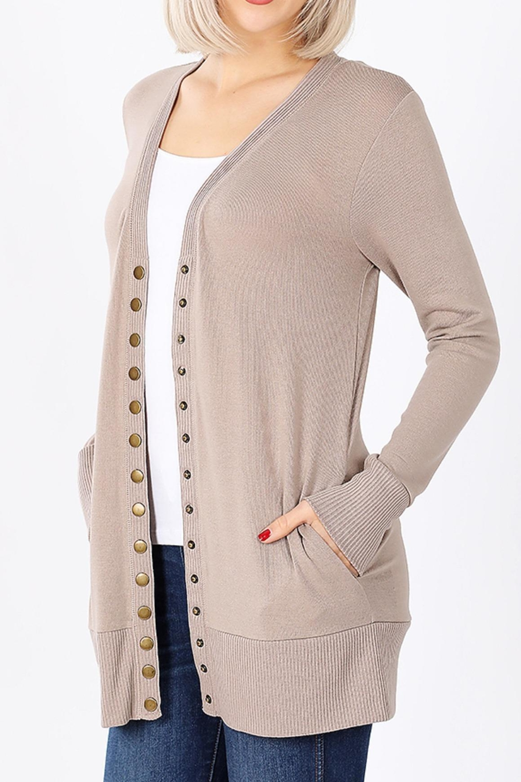 Zenana Outfitters Snap-Button Sweater Cardigan - Back Cropped Image