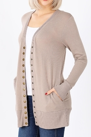 Zenana Outfitters Snap-Button Sweater Cardigan - Back cropped