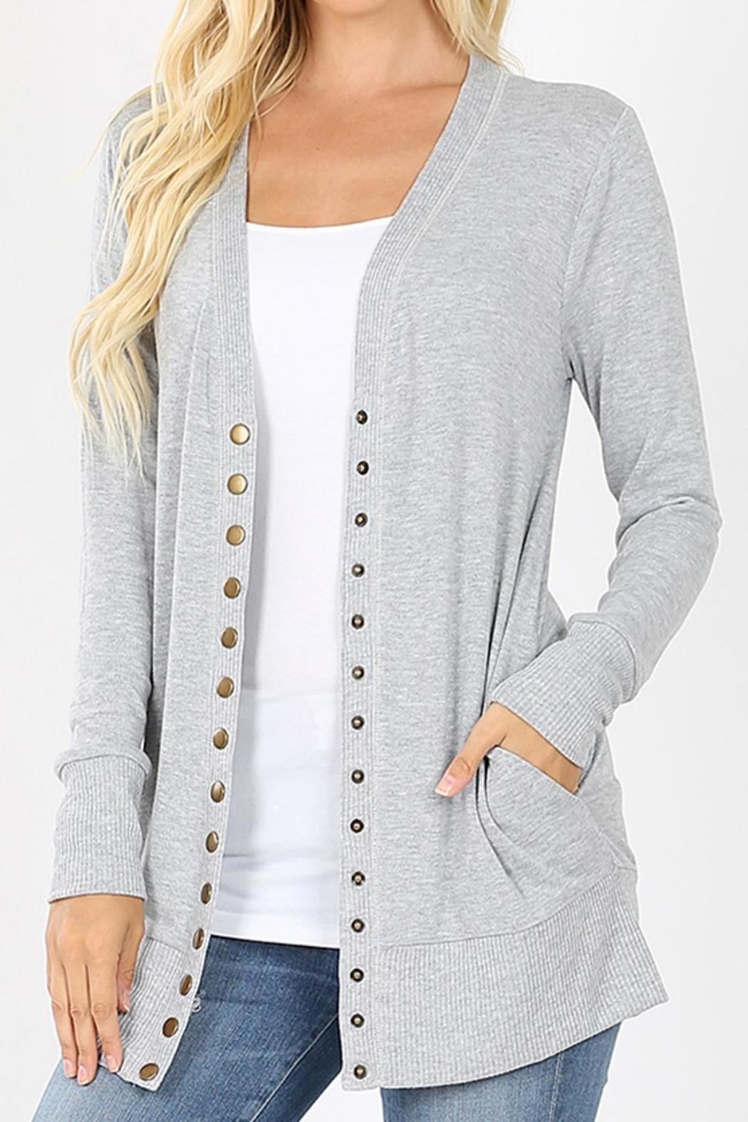 Zenana Outfitters Snap-Button Sweater Cardigan - Front Cropped Image