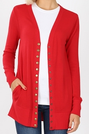 Zenana Outfitters Snap-Button Sweater Cardigan - Front cropped