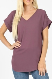 Zenana Outfitters Solid Vneck Blouse - Product Mini Image