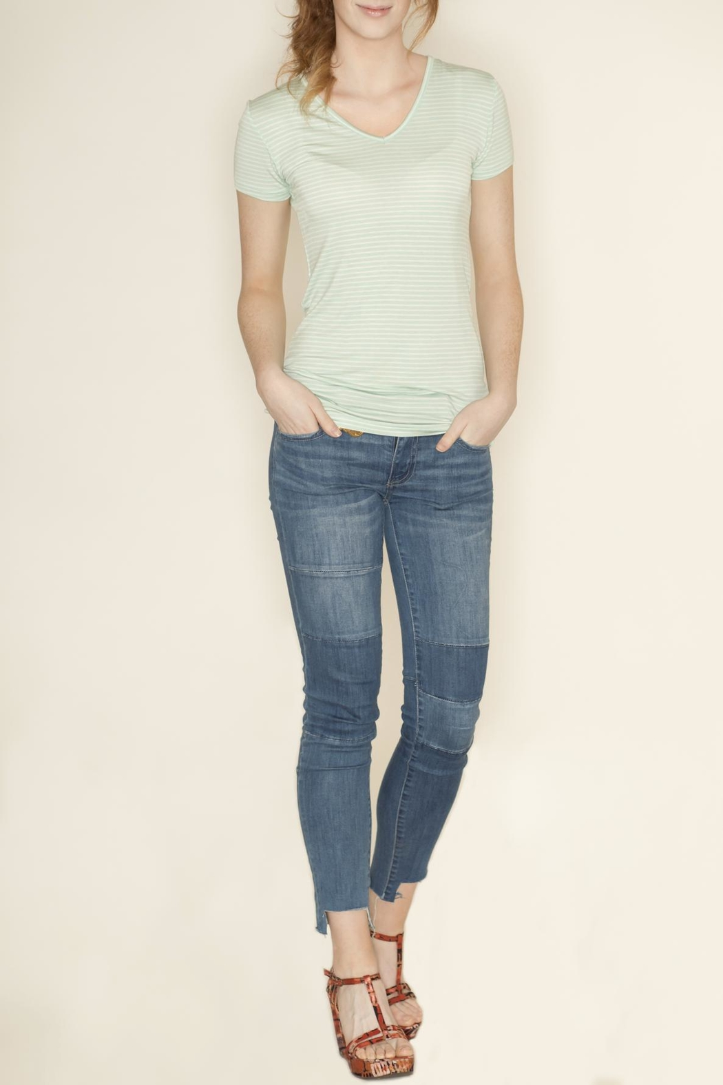 Zenana Outfitters V Neck Pinstripe Tee - Front Full Image