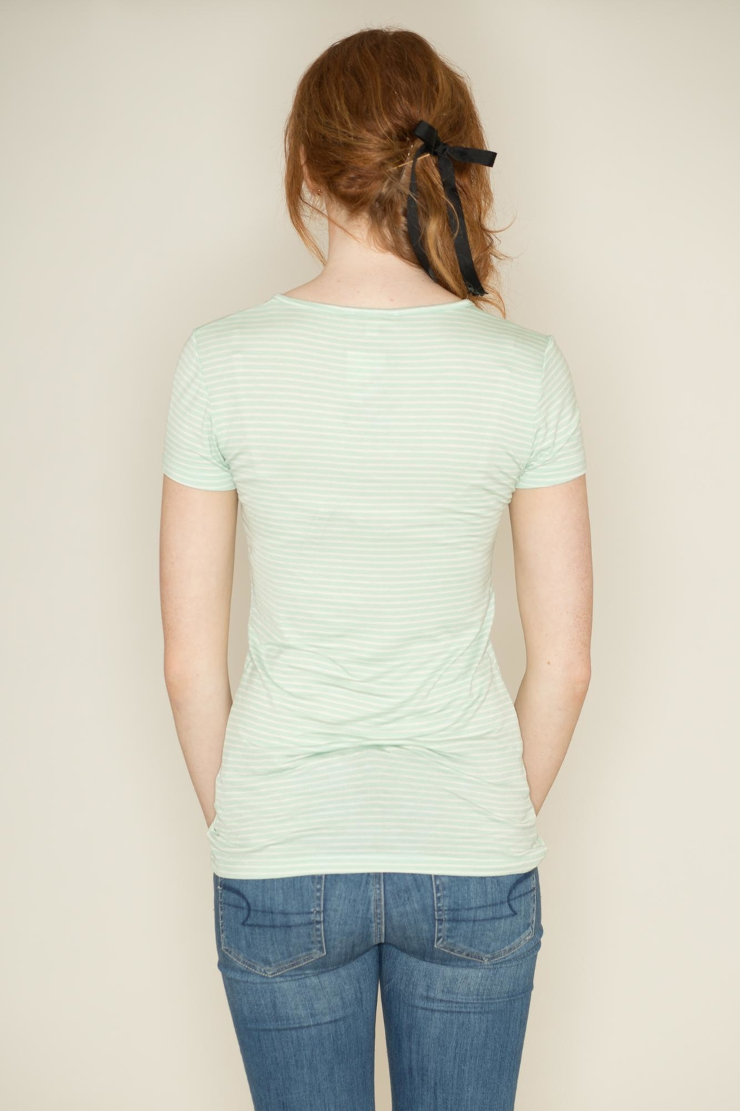 Zenana Outfitters V Neck Pinstripe Tee - Back Cropped Image